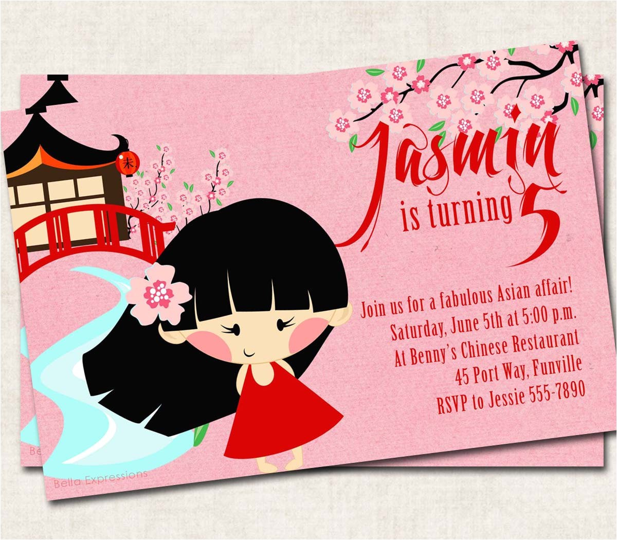 asian birthday party invitation pink red