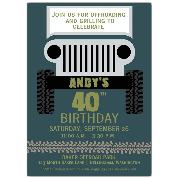 Jeep froad Birthday Invitations p 608 57 505