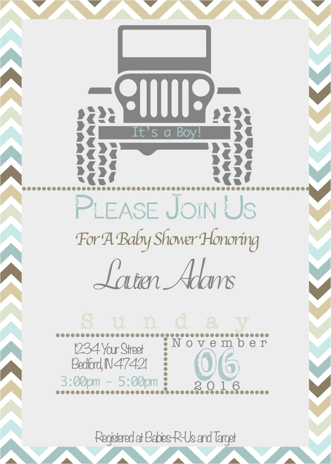 Jeep Baby Shower Invitations Jeep theme Baby Shower Invitation