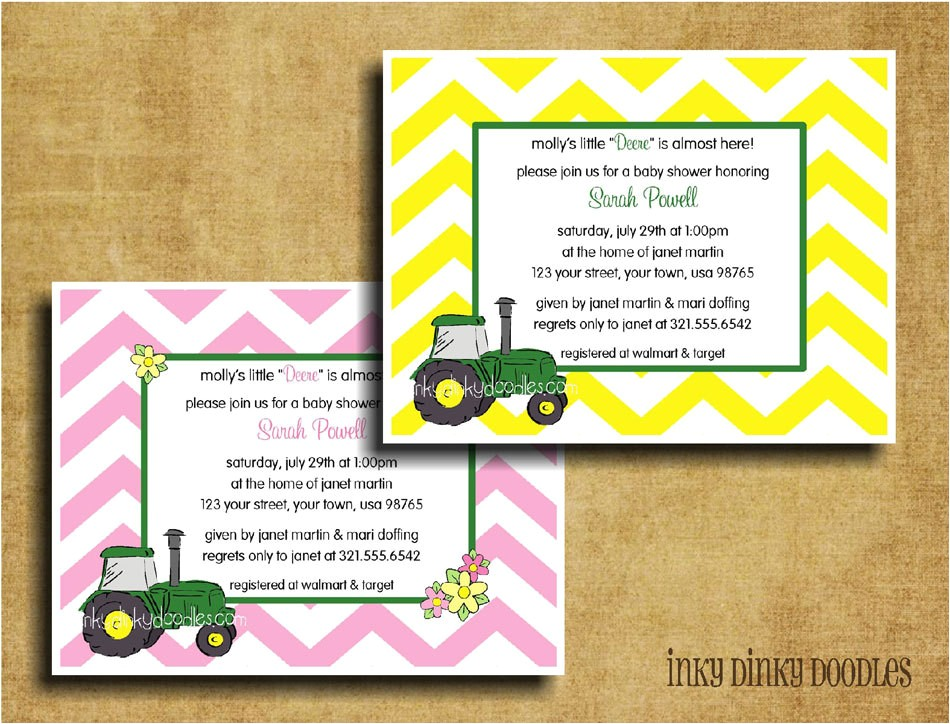 green tractor baby shower invitation