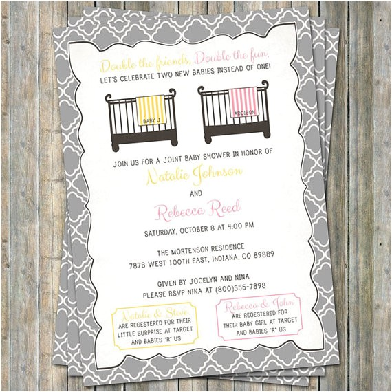 joint baby shower invitation crib and