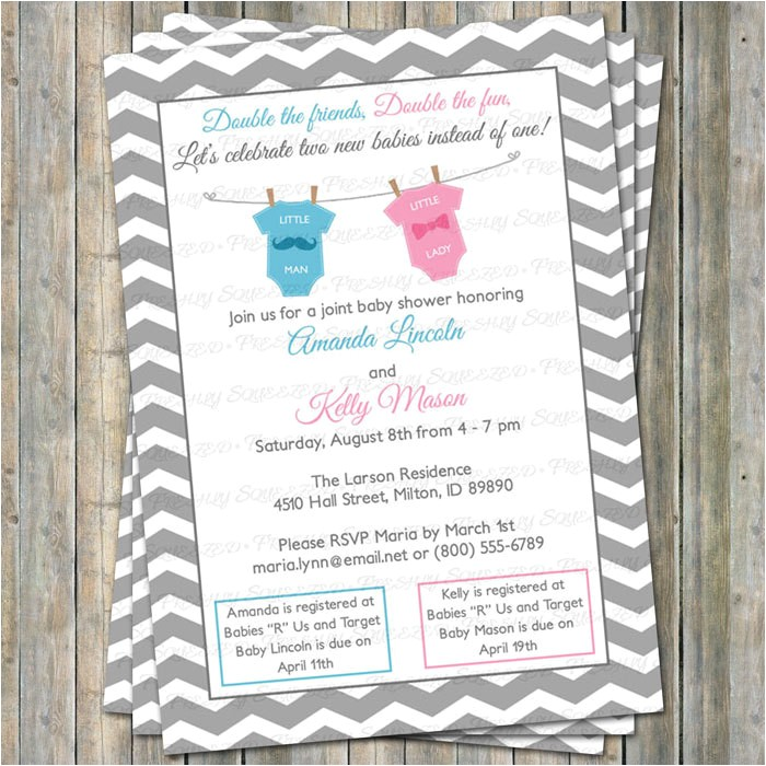 joint baby shower invitation double