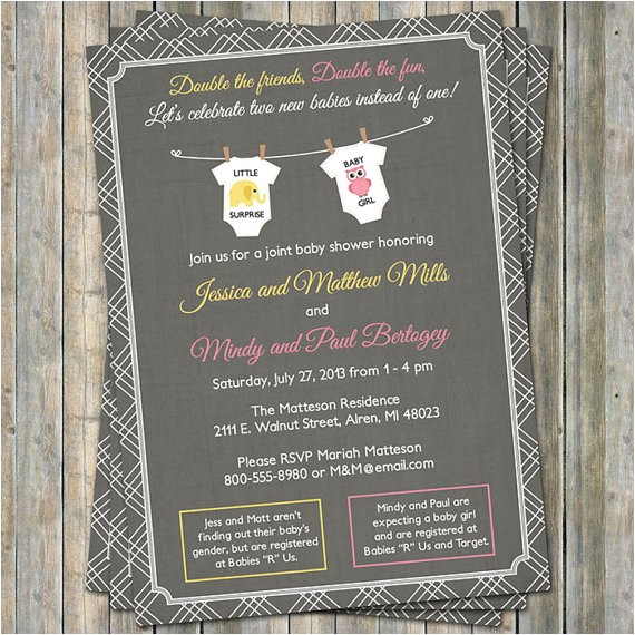 joint baby shower invitation onesies