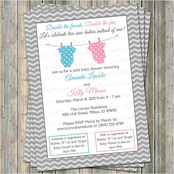 joint baby shower invitation polka dot