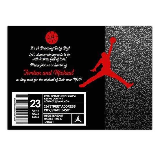 Jordan Baby Shower Invitations Set 20 Jordans and Babies On Pinterest
