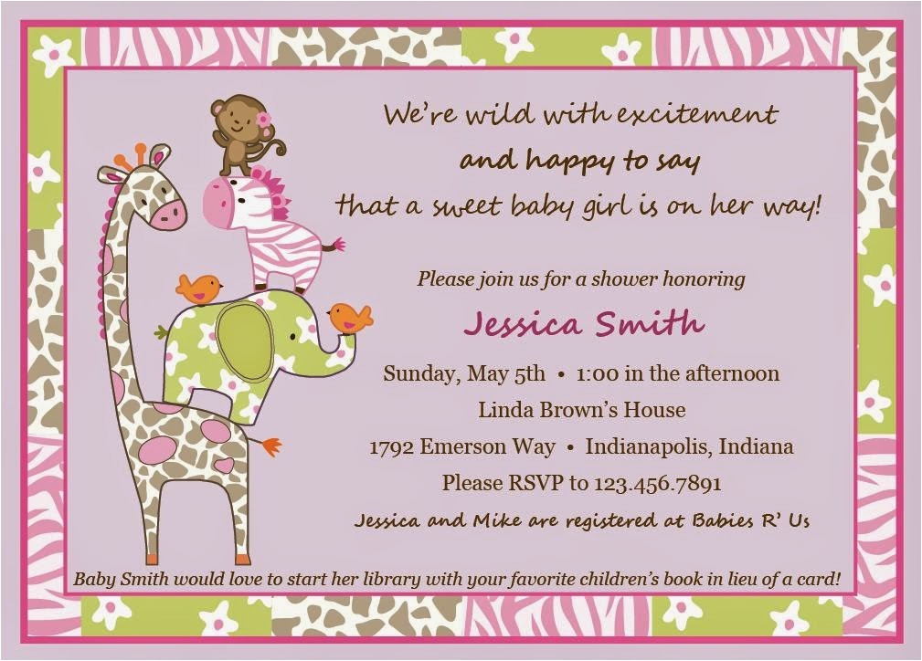 baby shower invitations jungle jill