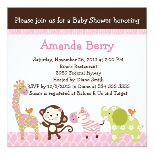 jungle jill animals baby shower invitation