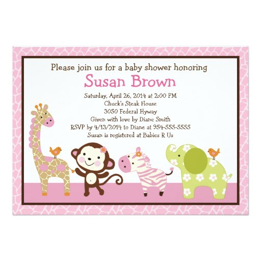 jungle jill girl animals baby shower invitation
