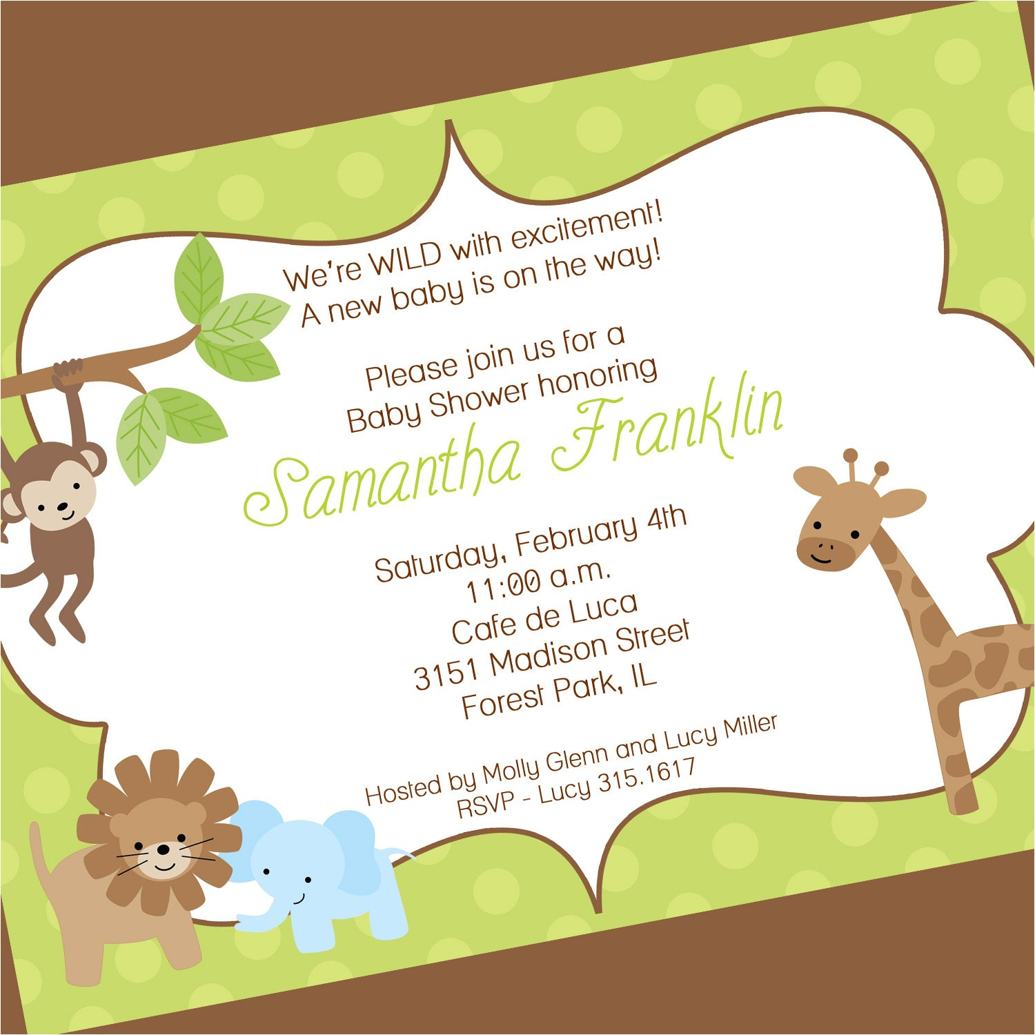 jungle theme baby shower invitation wording 2