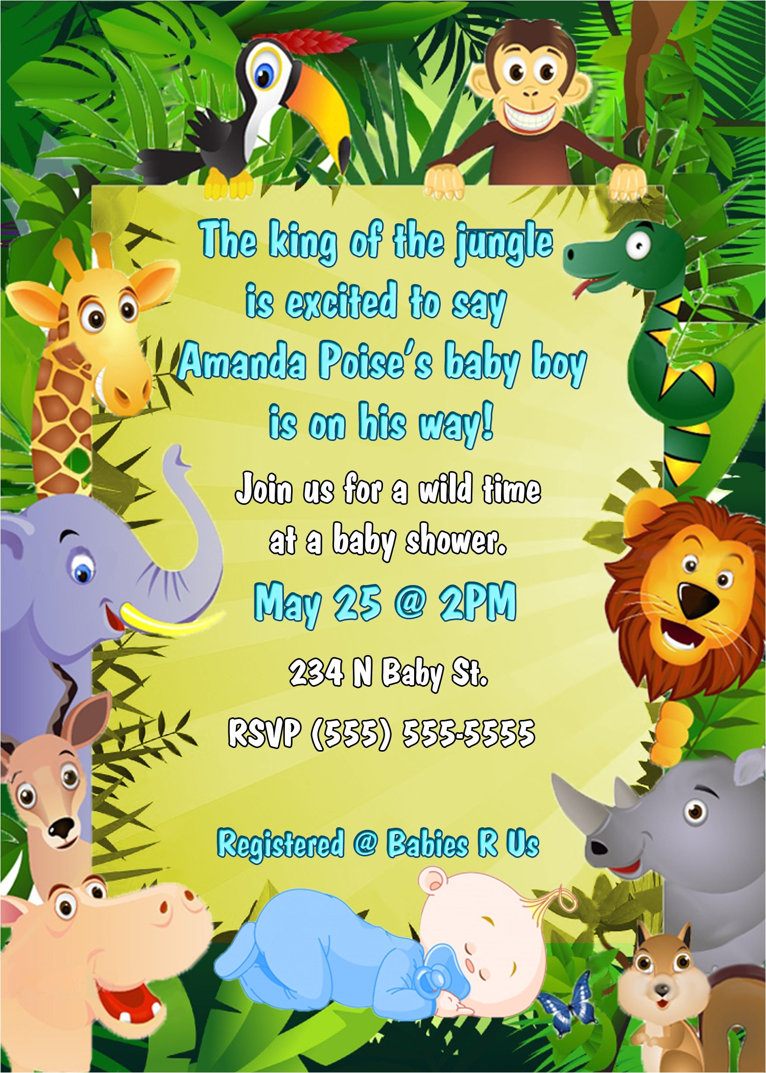 jungle themed baby shower invitations