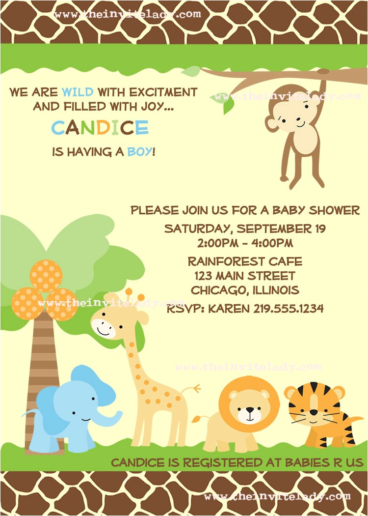 safari baby shower invitations wording