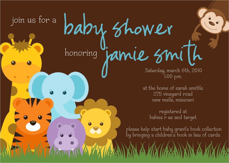 jungle theme baby shower invitation
