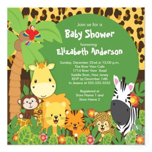 safari jungle theme baby shower invitations