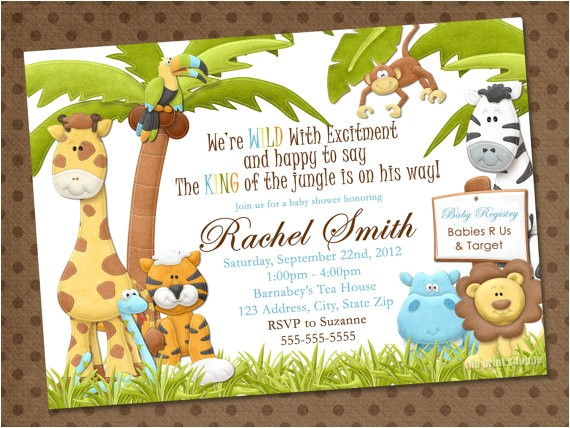 free printable safari theme baby shower invitations decorations