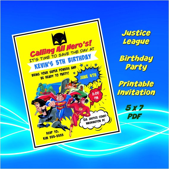 justice league birthday invitation file