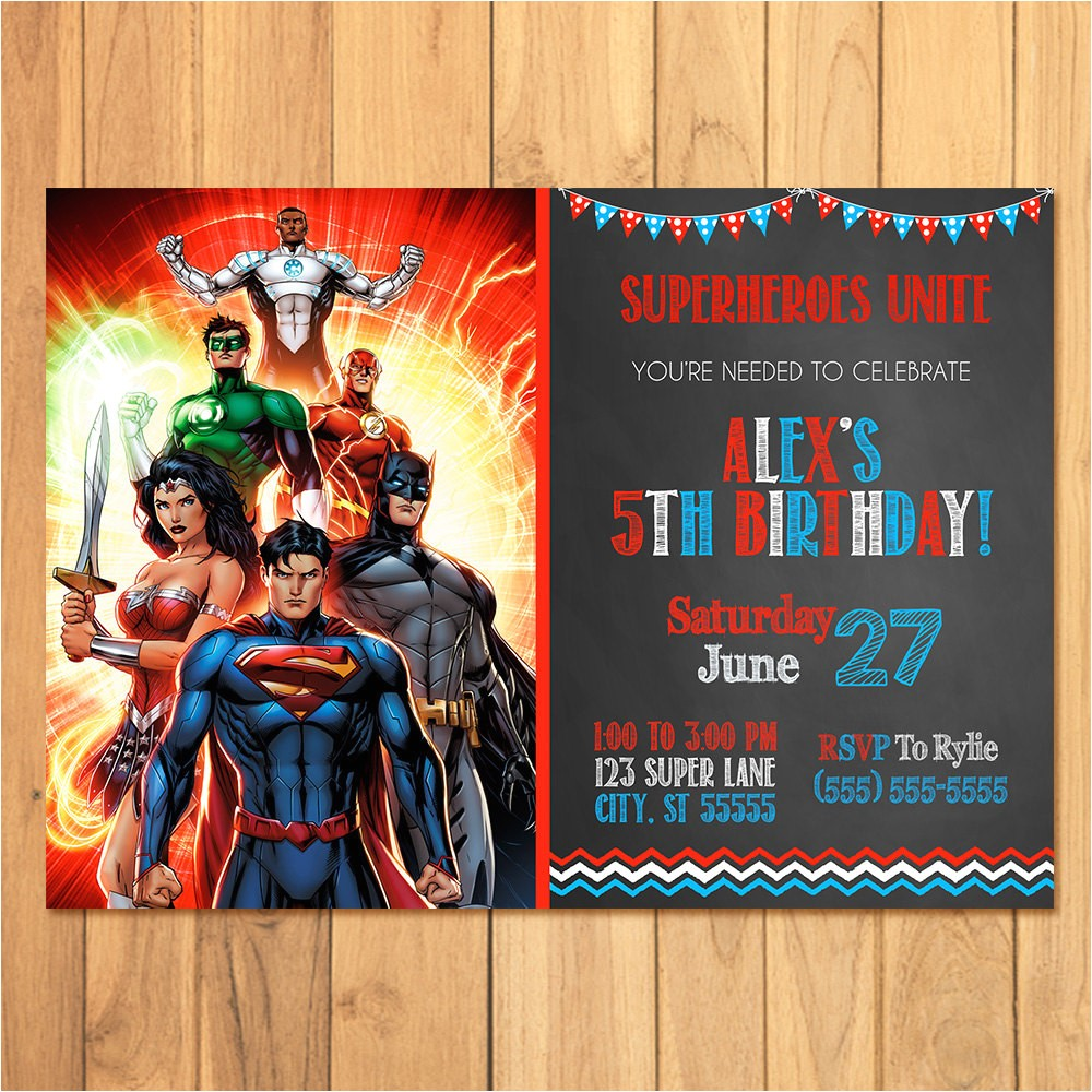 superhero invitation chalkboard