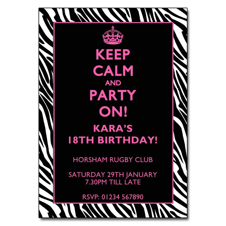 keep calm party on zebra