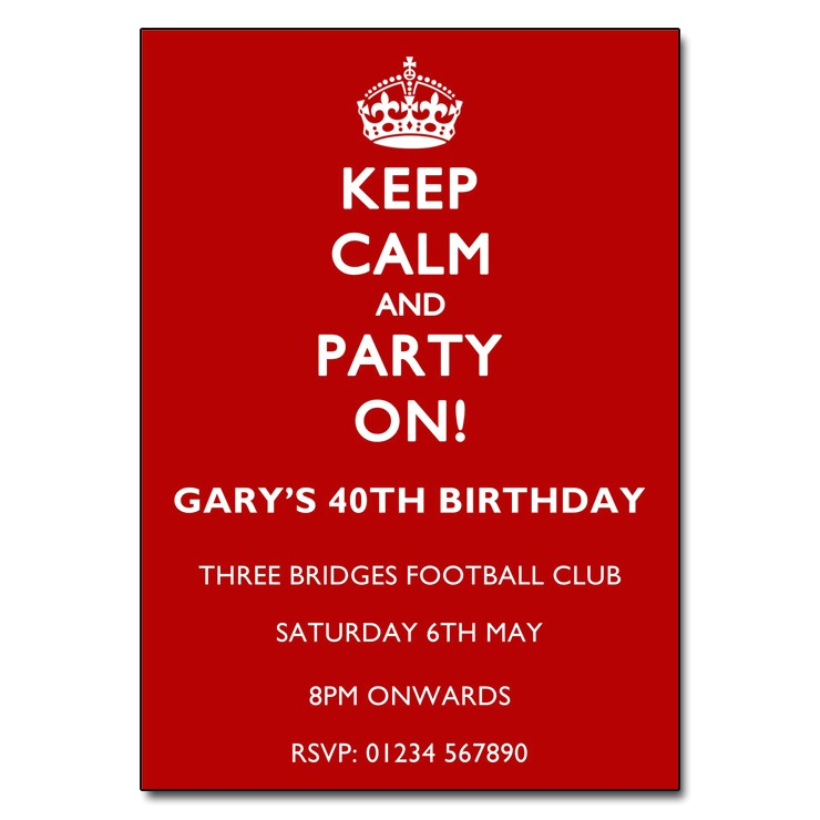 white red keep calm party invitations