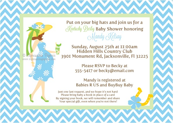 Blue Kentucky Derby Mommy to be Baby Shower Invitations