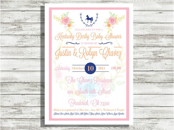 kentucky derby baby shower invitation