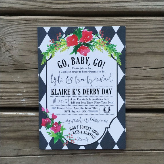 kentucky derby baby shower invitations
