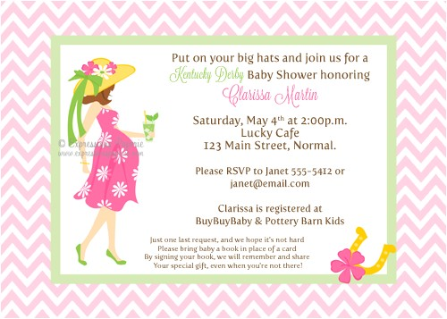 Pink Kentucky Derby Baby Shower Invitations