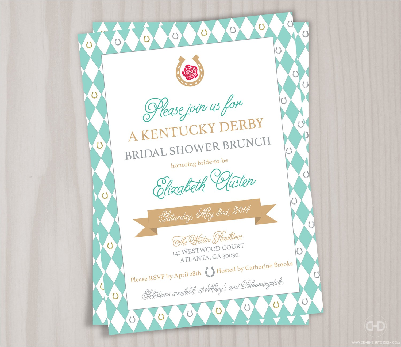 kentucky derby bridal shower invitation