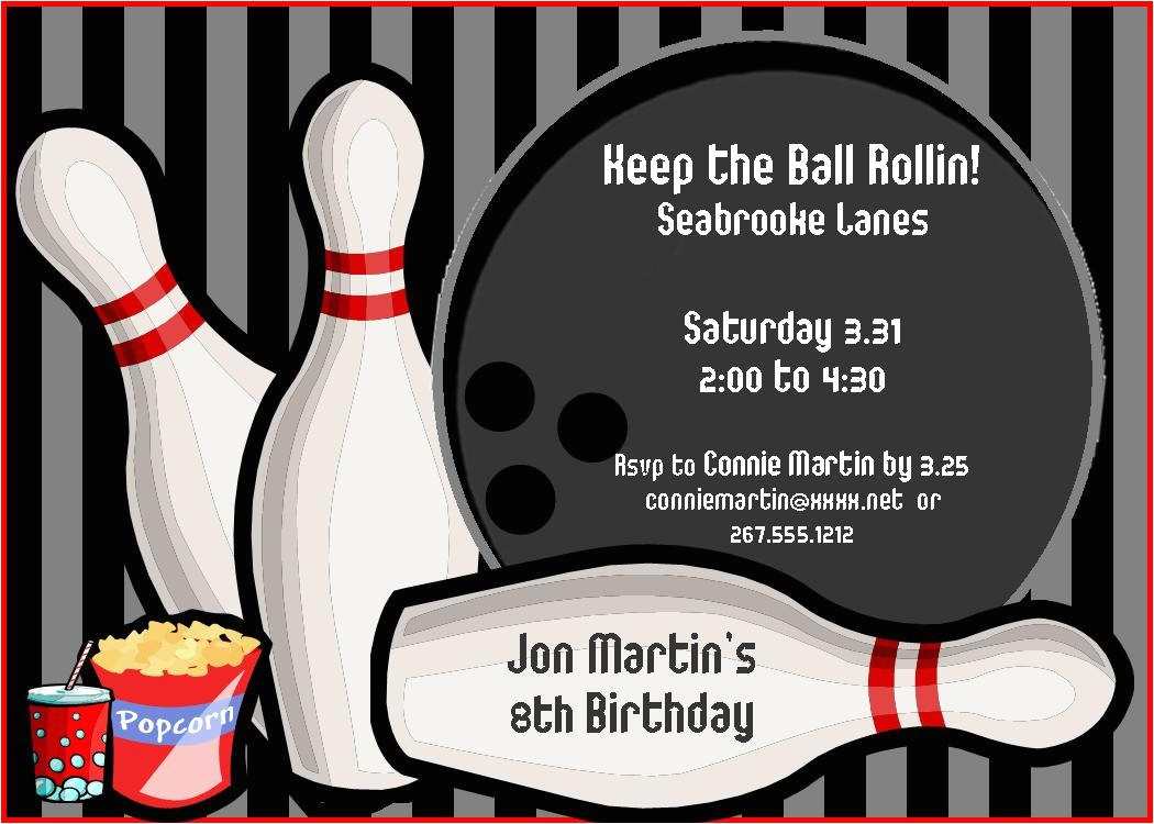 bowling party invitations for kids printable