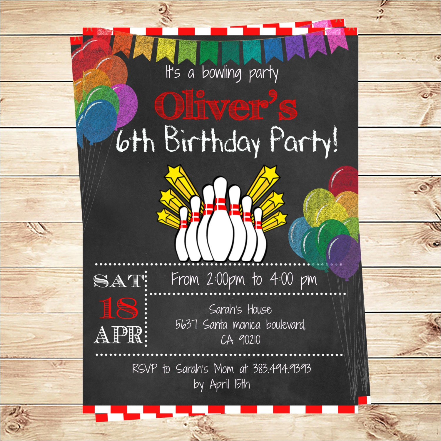 printable bowling birthday party