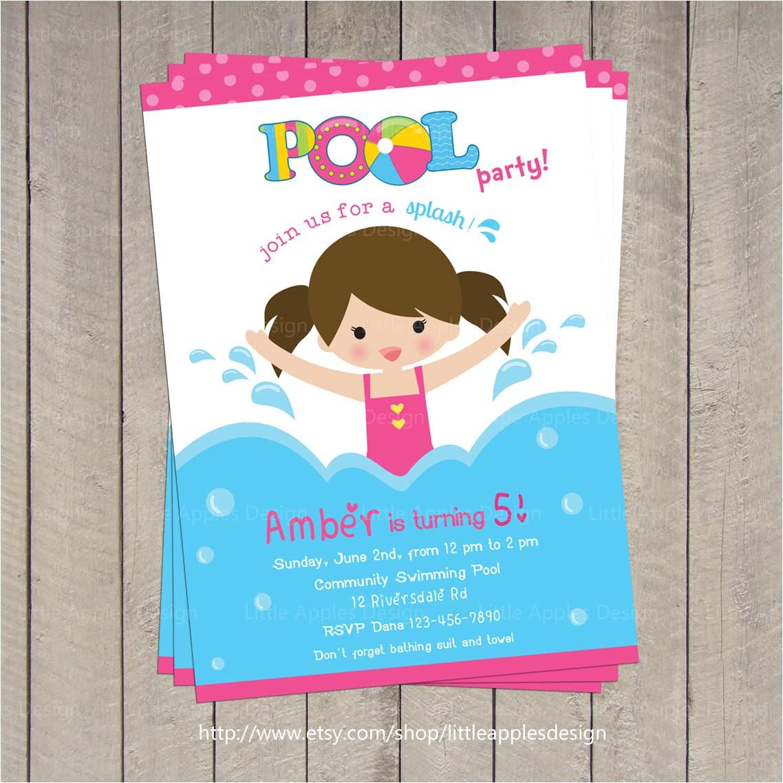 pool invitation pool party invitation