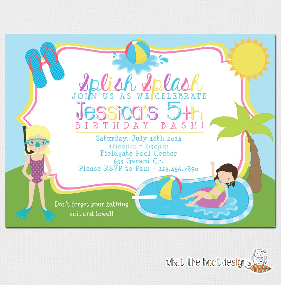 pool party invitation kids pool party