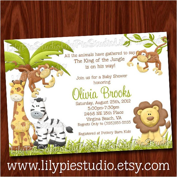 king jungle baby shower invitation printable