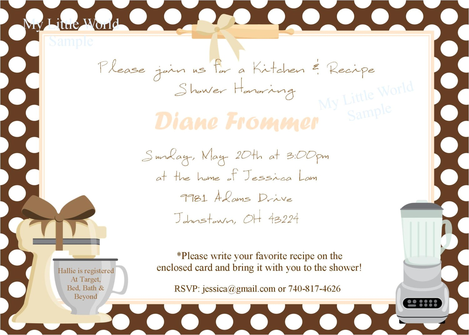 kitchen party invitation cards samples