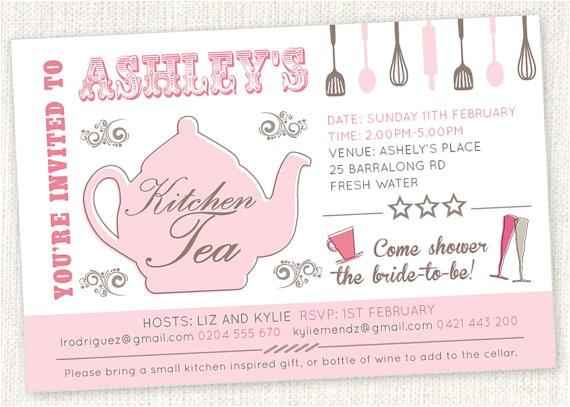 kitchen tea teapot shower invitations