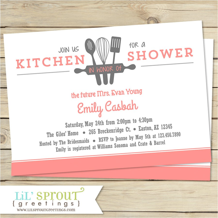 Kitchen themed Bridal Shower Invitations Kitchen Bridal Shower Invitation Customize Colors