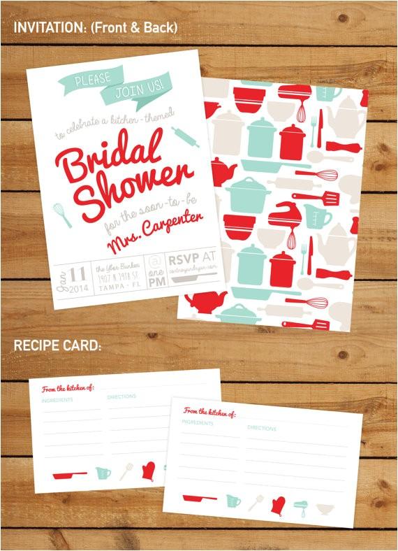 kitchen themed bridal shower invitation