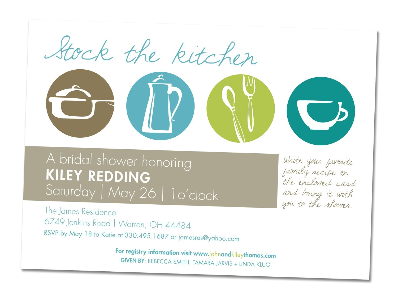 Kitchen themed Bridal Shower Invites Items Similar to Kitchen themed Wedding Shower Invitation