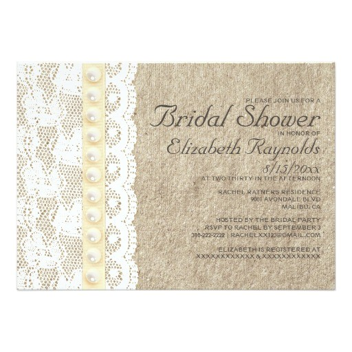 antique lace and pearls bridal shower invitations
