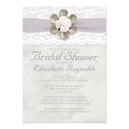 elegant lace and pearls bridal shower invitations