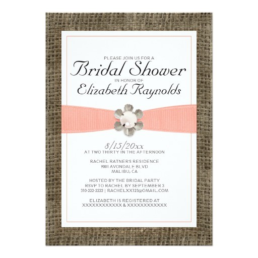 rustic lace and pearl bridal shower invitations