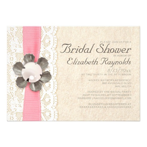 "Lace and Pearls Bridal Shower Invitations Rustic Lace and Pearls Bridal Shower Invitations 5"" X 7"