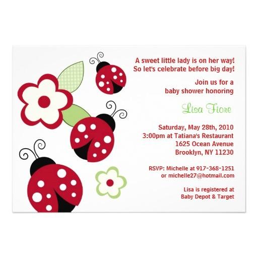 red ladybug flower custom baby shower invitations