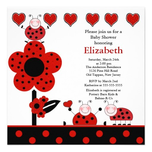 cute ladybug baby shower invitation