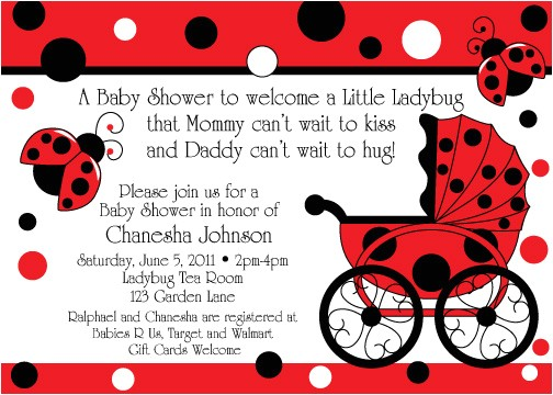 ladybug buggy baby shower invitations