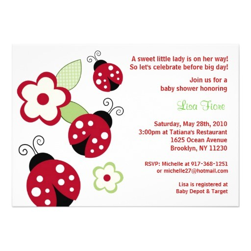 red ladybug flower custom baby shower invitations