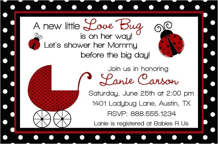 ladybug baby shower invitation wording