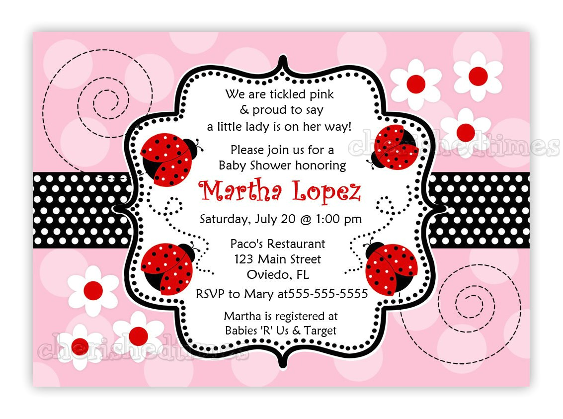 Ladybug Invitations for Baby Shower Another Pink and Red Ladybug Baby Shower Invitation You