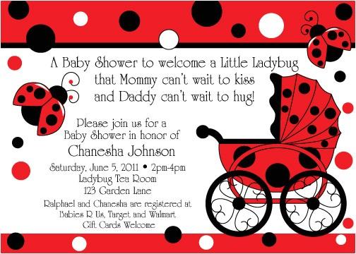 ladybug buggy baby shower invitations
