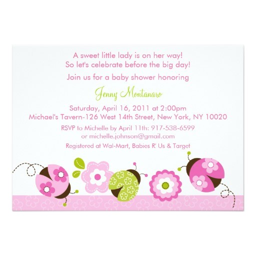 pink green ladybug flower baby shower invitations