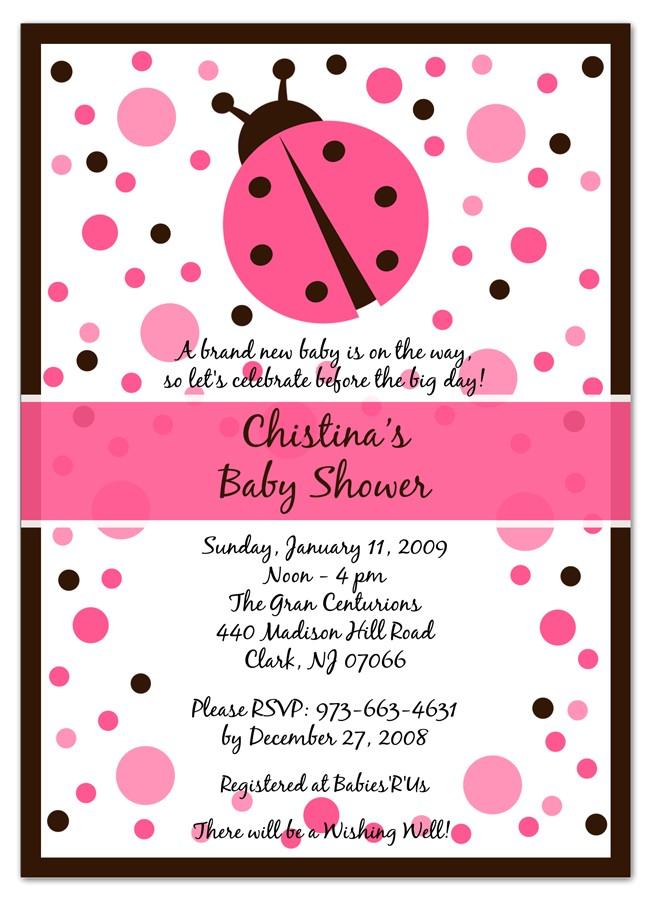 pink ladybug baby shower invitations